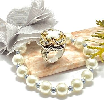 Lot of  2: 8.75ctw Genuine Mother of Pearl Ring size 7 & 9mm Pearl Beads Bracelet with Removable Fabric Flower Pin