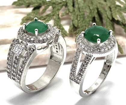 Lot of 2.15ctw Emerald and White Sapphire Ring Size 8 & 2.25ctw Emerald & White Sapphire Ring Size 7