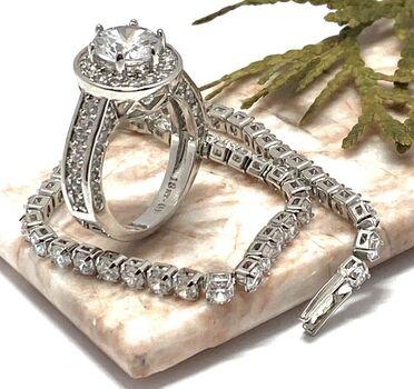 Lot of 2.20ctw White Sapphire Bracelet & 2.25ctw White Sapphire Ring Size 7