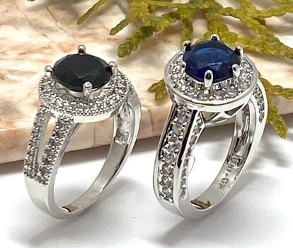 Lot of 2.38ctw Blue & White Sapphire Ring Size 7 & 2.29ctw  White & Black Sapphire Ring Size 7