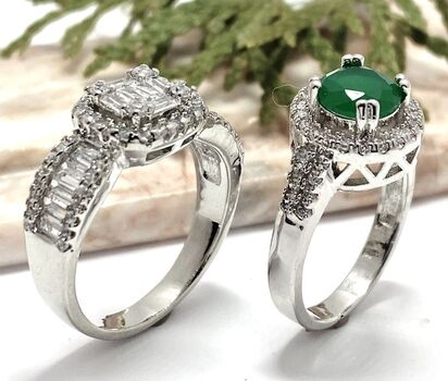 Lot of 2.92ctw White Sapphire Ring Size 7 & 1.25ctw Emerald & White Sapphire Ring Size 7