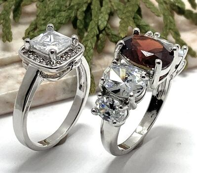 LOT of 3.10ctw (AAA Grade) CZ's Ring sz 7 & 7.50ctw Garnet and White Sapphire Ring Size 7