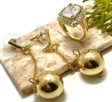 """LOT of 3.50ctw White Topaz Ring Size 7 & 4"""" Long Ball Earrings"""