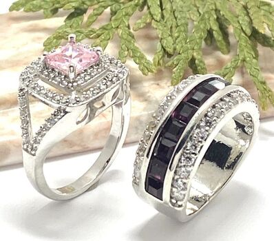 LOT of 3.55ctw Amethyst & White Topaz Ring Size 7 & 1.78ctw Pink & White Sapphire Ring Size 8