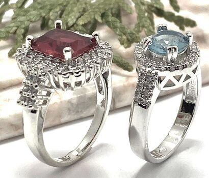 Lot of 3.62ctw Red Corundum & White Sapphire Ring sz 6.5 & 1.25ctw Sky Blue Topaz & White Sapphire Ring Size 7