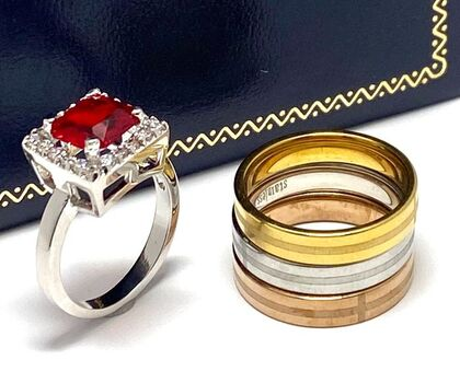Lot of 3.75ctw Ruby & Diamonique Ring Size 7 & Stainless Steel Tri-color Ring Size 7
