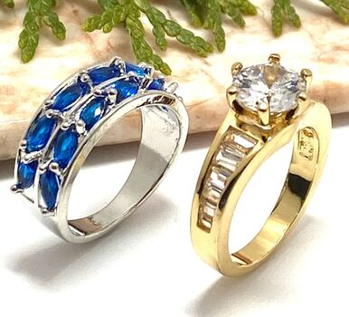 Lot of 3.75ctw Sapphire Ring Size 7 & 3.50ctw White Cubic Zirconia Ring Size 7