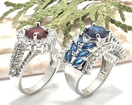 Lot of 3.94ctw Garnet Ring Size 7 & 2.79ctw Blue Sapphire &  White Topaz Ring Size 8
