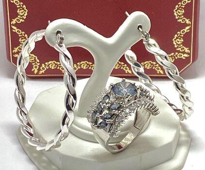 Lot of 40mm Hoop Earrings & 4.10ctw Mystic & White Topaz Ring sz 7