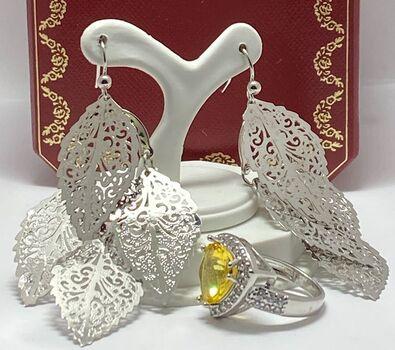 Lot of 4.30ctw Citrine & White Sapphire Ring Size 7 & Boho Chic Filigree Earrings