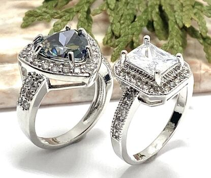 Lot of 4.35ctw White Sapphire Ring Size 8 & 5.40ctw Mystic Topaz & White Sapphire Ring Size 7