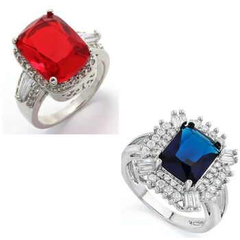 Lot of 5.10ctw Sapphire Ring Size 8 & 5.16ctw  Ruby & AAA Grade CZ's Ring Size 8