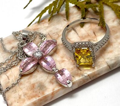 Lot of 5.20ctw Pink AAA Grade CZ Cross Necklace & 3.20ctw Citrine & AAA Grade CZ's Ring Size 8
