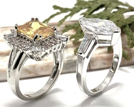 LOT of 5.25ct Diamonique Ring Sz 7 / 5.10ct Yellow & White Topaz Ring Sz 7