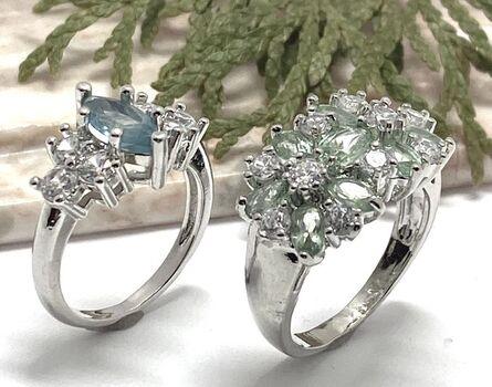 Lot of 5.98ctw Peridot & White Sapphire Ring size 7 & 3.50ctw Blue & White Topaz Ring sz 8