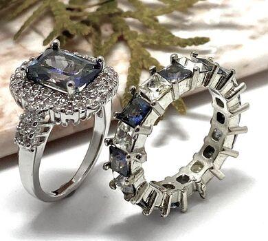 Lot of 6.00ctw Mystic & White Topaz Ring Size 7 & 4.25ctw Mystic & White Topaz Ring size 7