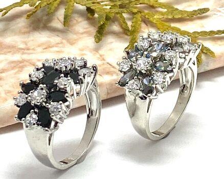Lot of 6.00ctw Mystic & White Topaz Ring sz 7.5 & 3.50ctw Black & White Sapphire Ring Size 7
