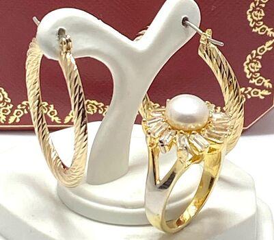Lot of 8mm White Pearl & 0.65ctw White Topaz Ring Size 7 & 30mm Hoop Earrings