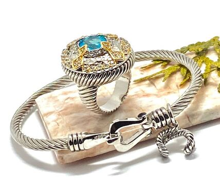 Lot of Black Swarovski Elements Cable Bracelet & 2.05ctw Blue Topaz & White Zircon Ring sz 7