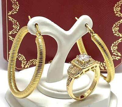 Lot of Hoop Earrings & 1.43ctw White Sapphire Ring Size7