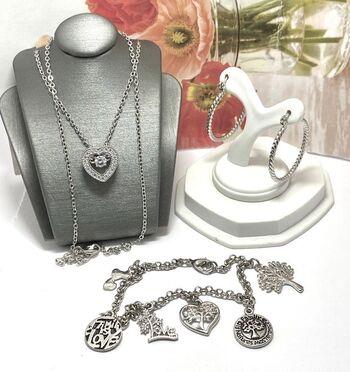 Lot of Hoop Earrings, Heart Necklace & Charm Bracelet