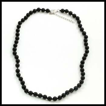 Lucien Piccard .925 Sterling Silver 6mm Black Onyx Necklace