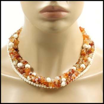 Maddy Emerson Collection Solid .925 Sterling Silver, Quartz & 4-10mm White Fresh Water Pearl Necklace