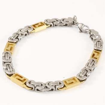 Men's Byzantine, Two-Tone Stainless Steel Bracelet