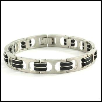 Men's Stainless Steel & Black Silicone Bracelet