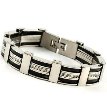 Men's Stainless Steel Silicone Bracelet