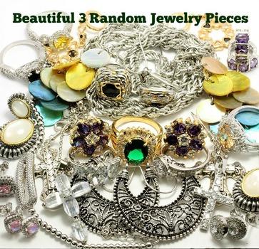 Mixed Multi-color Stones Wholesale Lot of 3 Random Jewelry Pieces