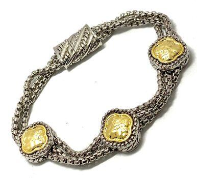 Multi Chain 14k White Gold Ovr & 14k Yellow Gold Ovr Magnetic  Bracelet
