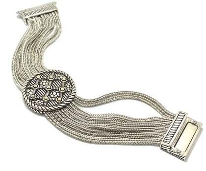 Multi Strand Chain Bracelet Two-Tone 14k Gold Over
