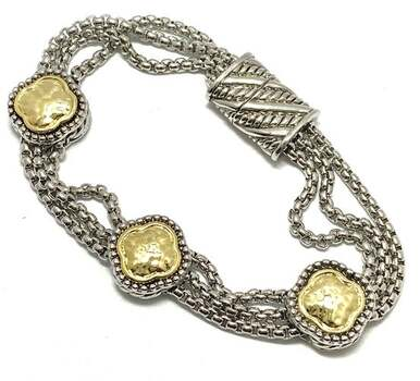 Multi-Strand Chain Bracelet Two-Tone 18k Gold Over Magnetic Clasp