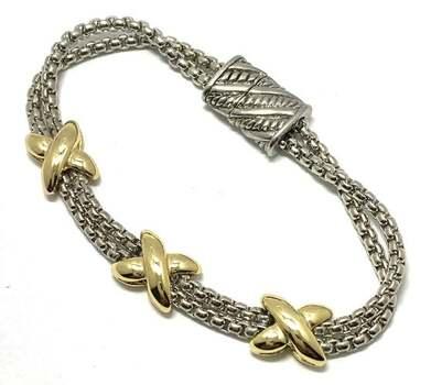 Multi-Strand X Bracelet Two-Tone 14k Gold Over Magnetic Closure