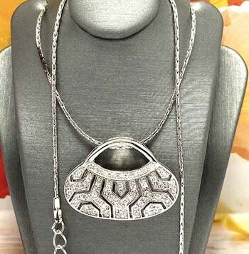 NO RESERVE 0.75ctw White Diamonique Antique Design Necklace