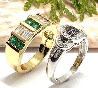 NO RESERVE 0.90ctw Emerald & Diamonique & 0.01ctw Genuine Diamond Lot of 2 Rings Size 7