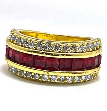 NO RESERVE 1.0ctw Ruby & 0.75ctw White Diamonique Ring Size 8