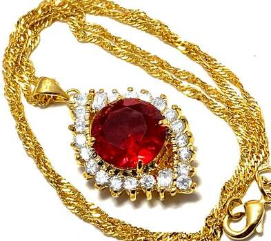 NO RESERVE 14.0ctw Red Corundum & 1.15ctw White Diamonique Necklace