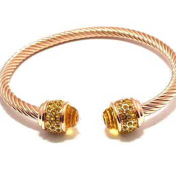 NO RESERVE 2.15ctw Golden Topaz Cable Bangle Bracelet
