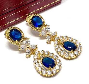 NO RESERVE 22.00ctw Sapphire & Diamonique Earrings