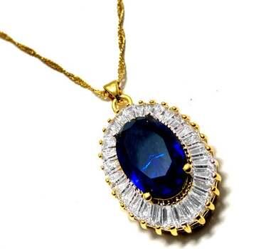 NO RESERVE 27.0ctw Sapphire & 2.75ctw White Diamonique Necklace