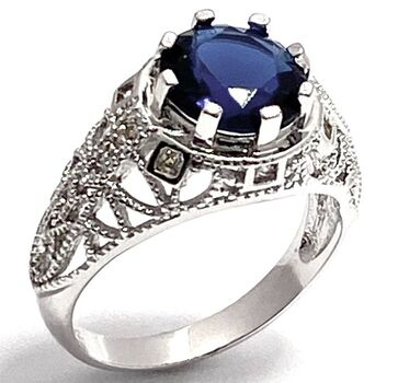 NO RESERVE 2.75ctw Sapphire & 0.05ctw White Sapphire Ring Size 8
