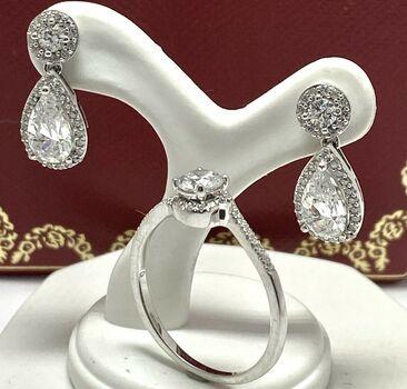 NO RESERVE 3.50ct White Diamonique Lot of Ring & Earrings