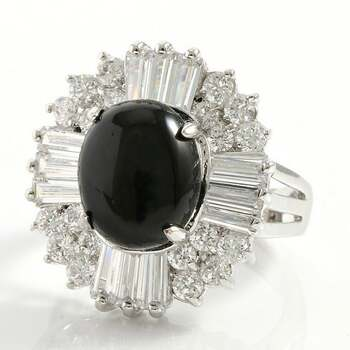 NO RESERVE 3.75ctw Created Black Onyx & White Sapphire Ring Size 8
