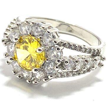NO RESERVE 3.94ctw Citrine & White Sapphire Ring Size 7.5