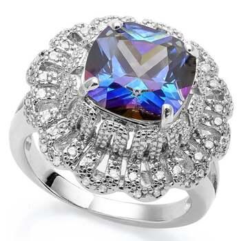 NO RESERVE 3.95ctw Mystic Topaz & White Sapphire Ring sz 7