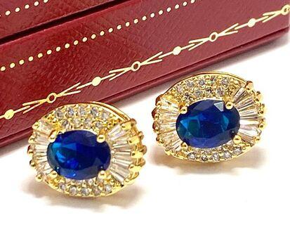 NO RESERVE 4.50ctw Sapphire & Diamonique Earrings