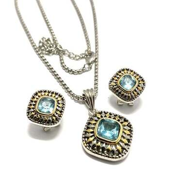 NO RESERVE 4.9ctw Blue Topaz Set of Necklace & Earrings