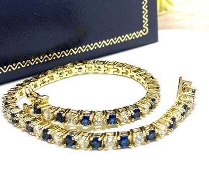 NO RESERVE 5.00ct Sapphire & White Diamonique Bracelet